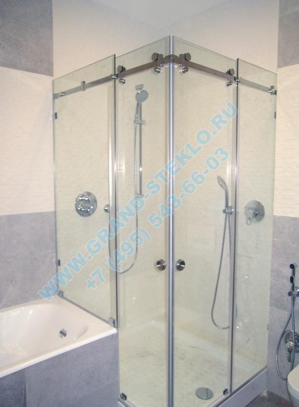 угловая раздвижная кабина из прозрачного стекла на ванну