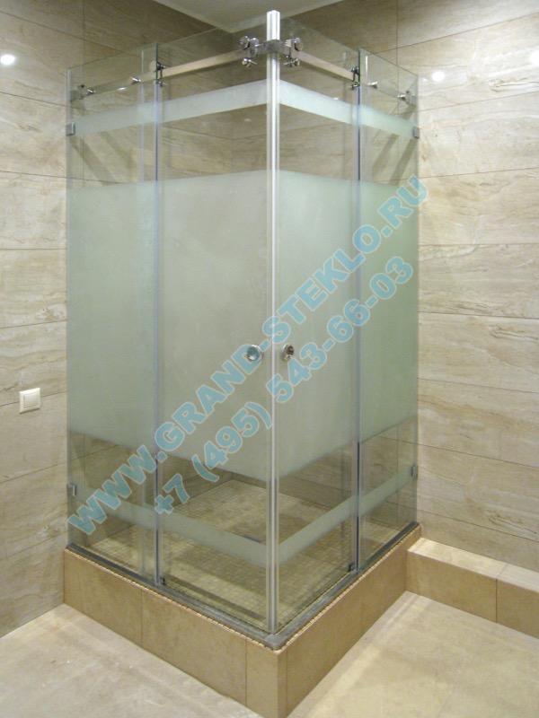 угловая раздвижная душевая кабина из стекла с двумя дверцами
